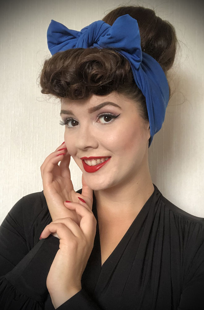 Blue Jersey Hair Scarf - a large jersey scarf. We LOVE a good hair scarf! They go with just about everything for effortless vintage style.