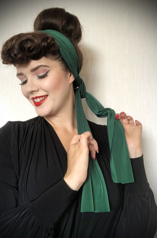 Green Jersey Hair Scarf - a large jersey scarf. We LOVE a good hair scarf! They go with just about everything for effortless vintage style.