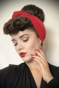 Red Jersey Hair Scarf - a large jersey scarf. We LOVE a good hair scarf! They go with just about everything for effortless vintage style.