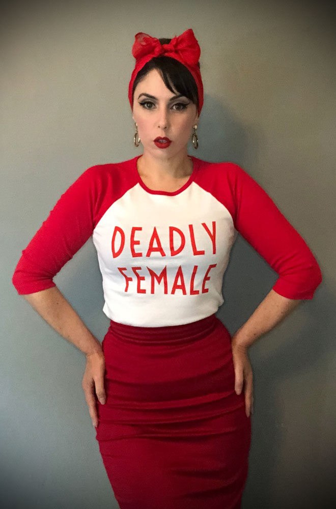 Deadly Female Raglan T-Shirt - a high-quality red & white top. This t-shirt is bold and sassy as well as soft and stylish!