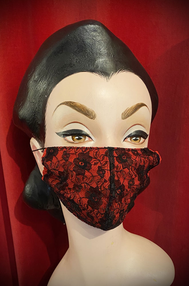 The Red Lace Mask is stylish but also a great reminder to keep your hands away from your face. Handmade in Somerset. Not suitable for medical use.