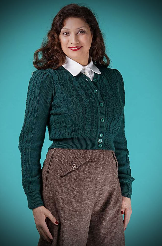 This 40's Bottle Green Ice Skater Cardigan is a beautiful wardrobe essential. DeadlyistheFemale.com are official UK stockists of Emmy Design Sweden.
