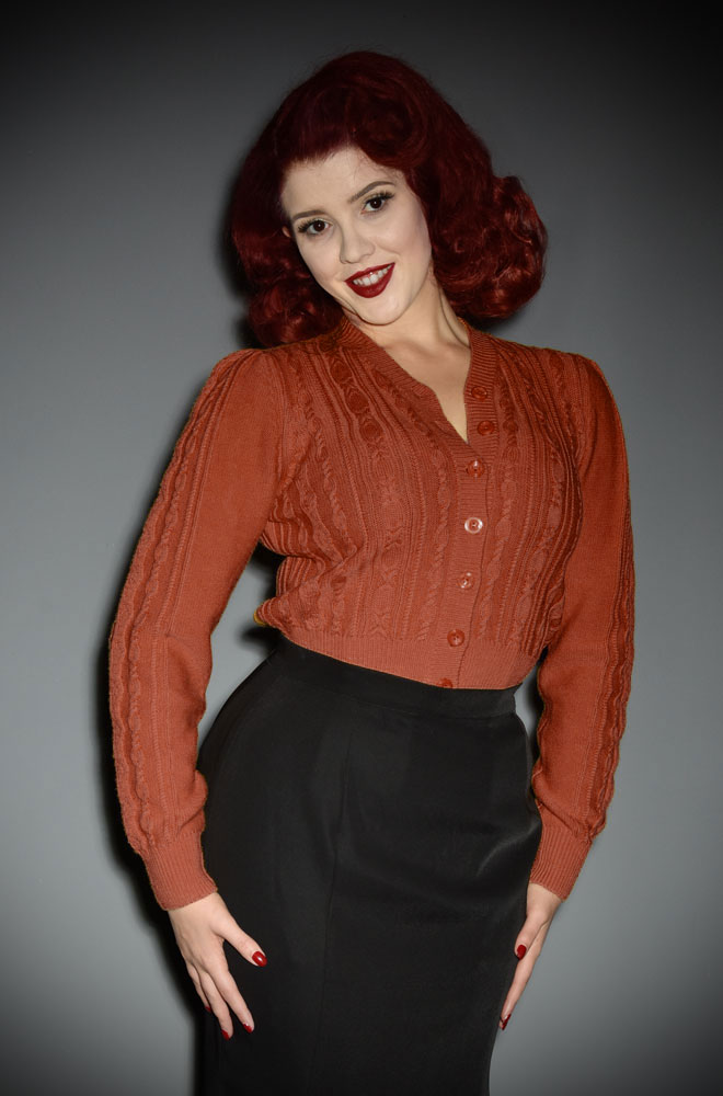 40's Cinnamon Ice Skater Cardigan - a wardrobe essential. DeadlyistheFemale.com are official UK stockists of Emmy Design Sweden.