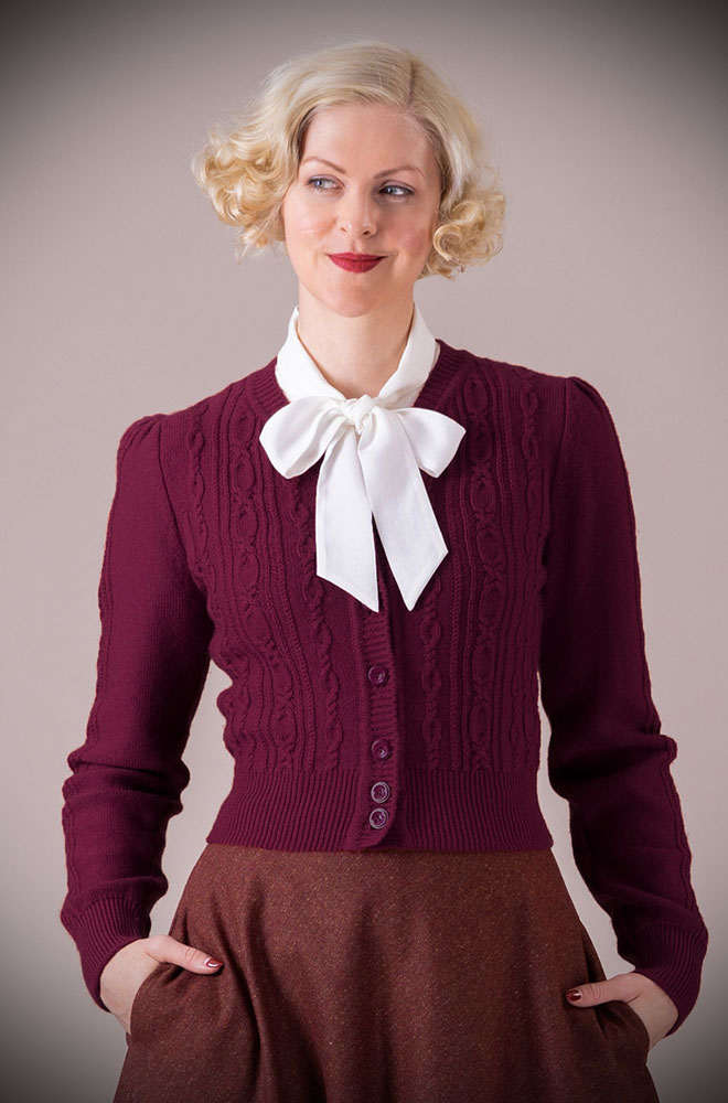 This stunning Aubergine 40's Ice Skater Cardigan by Emmy Design is a beautiful wardrobe essential. UK stockists DeadlyistheFemale.com