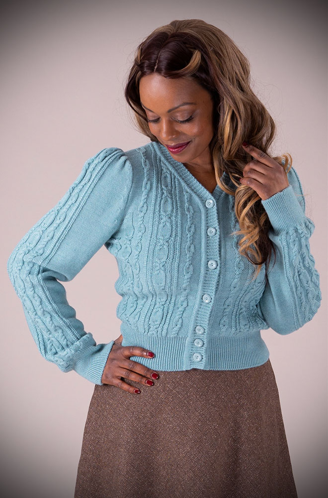 This Duck Egg 40's Ice Skater Cardigan by Emmy Design is a beautiful wardrobe essential available at UK stockists DeadlyistheFemale.com