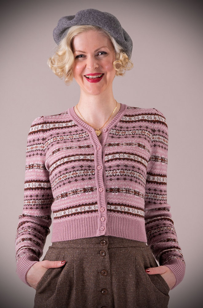 This Mauve 40's Fair Isle Cardigan is a beautiful wardrobe essential. DeadlyistheFemale.com are official UK stockists of Emmy Design Sweden.