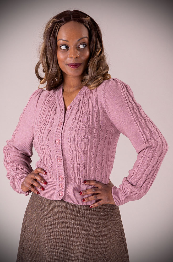 This stunning Mauve 40's Ice Skater Cardigan by Emmy Design is a beautiful wardrobe essential available at UK stockists DeadlyistheFemale.com