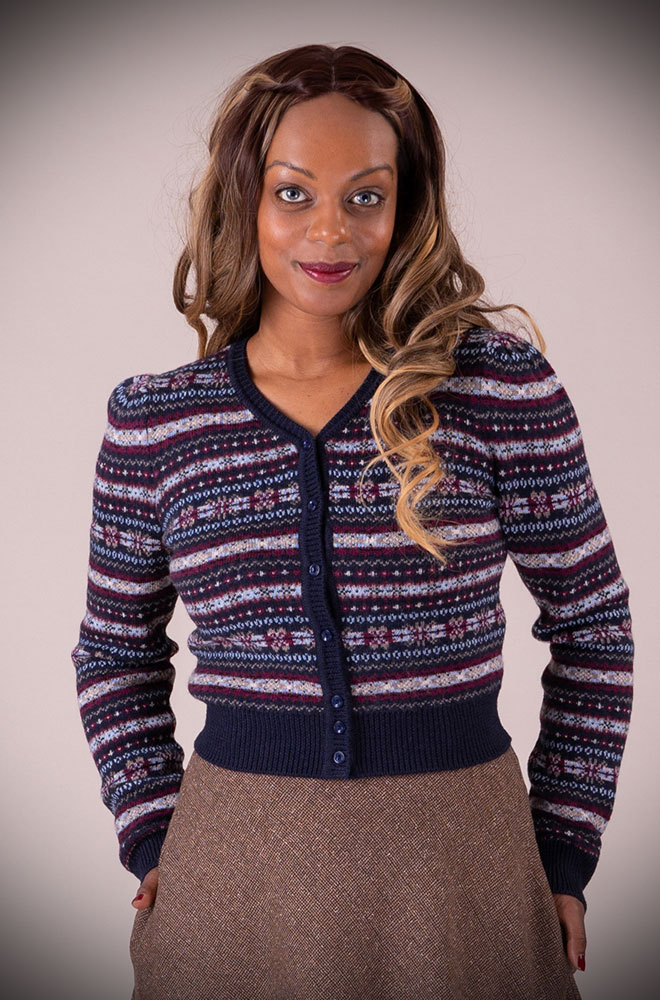 This Navy 40's Fair Isle Cardigan is a beautiful wardrobe essential. DeadlyistheFemale.com are official UK stockists of Emmy Design Sweden.