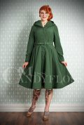 Loris Water Resistant Swing Coat - a stunning 1950's olive green coat with a hood. Deadly is the Female are Miss Candyfloss UK stockists.