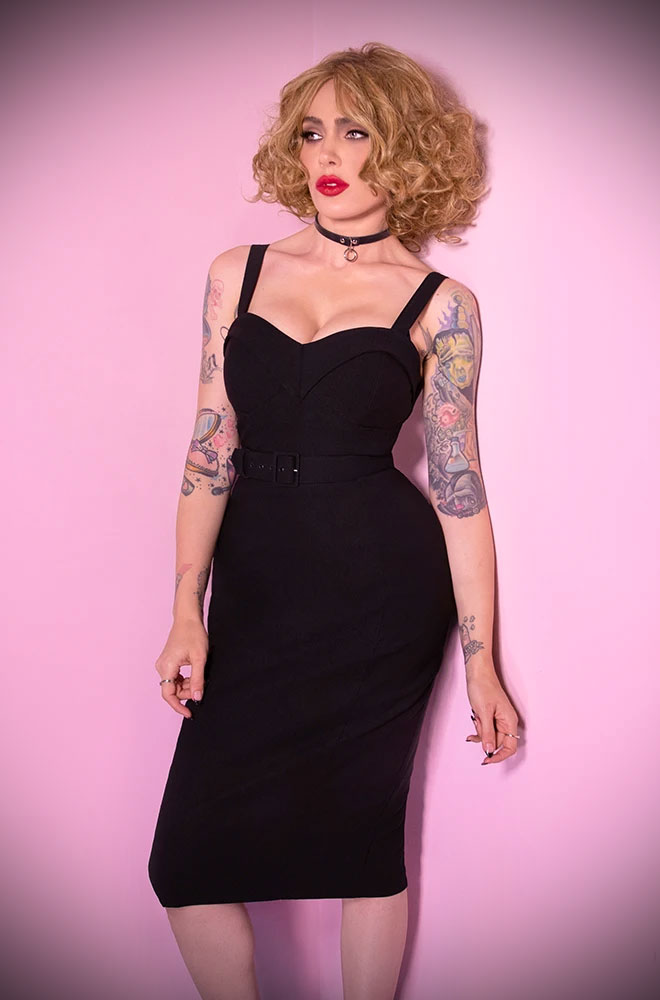 Black Maneater Wiggle Dress. The killer silhouette is a bad gals dream. Deadly are UK stockists of Vixen by Micheline Pitt.