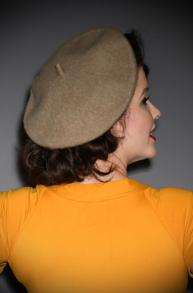Camel Film Noir Beret. The perfect go-to for a bad hair day but also a stylish finishing touch to any outfit. Availbale now at DeadlyistheFemale.com