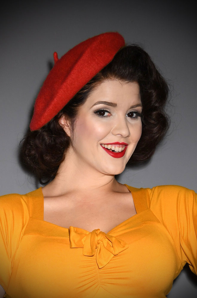Red Film Noir Beret.The perfect go-to for a bad hair day but also a stylish finishing touch to any outfit.Availbale now at DeadlyistheFemale.com