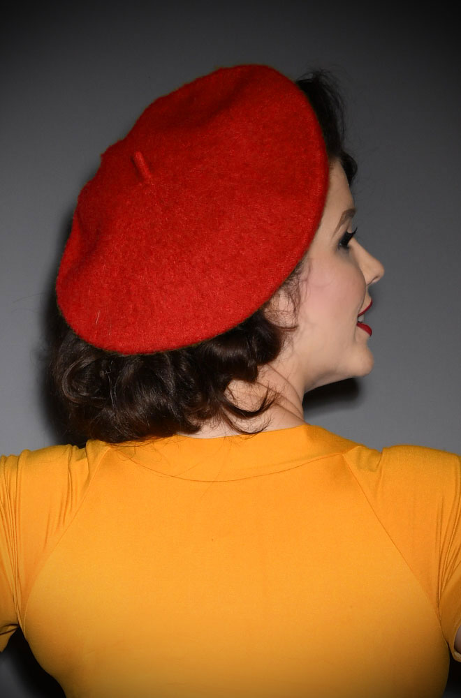 Red Film Noir Beret. The perfect go-to for a bad hair day but also a stylish finishing touch to any outfit. Availbale now at DeadlyistheFemale.com