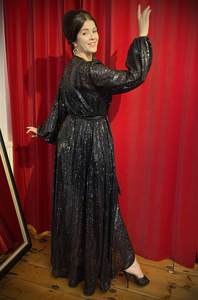 Black Sequin Claudia Gown - a draped sequin evening dress with bishop sleeves. A signature piece by Alexandra King for Deadly is the Female.