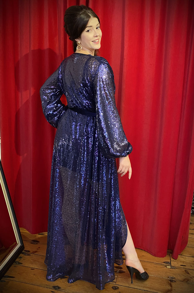Navy Sequin Claudia Gown - a draped sequin evening dress with bishop sleeves. A signature piece by Alexandra King for Deadly is the Female.