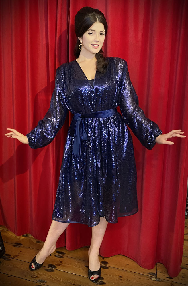 Navy Sequin Claudia Dress - a 40s style dress with bishop sleeves. A signature piece by Alexandra King for Deadly is the Female.