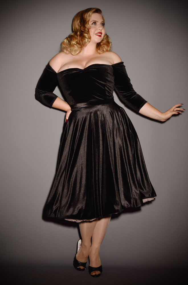 Black Velvet Luxe Dress - a timeless yet sassy swing dress by Alexandra King for Deadly is the Female Collection.