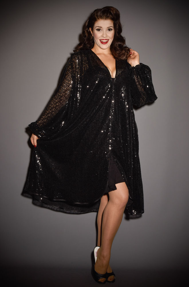 Black Sequin Claudia Dress - a 40s style dress with bishop sleeves. A signature piece by Alexandra King for Deadly is the Female.
