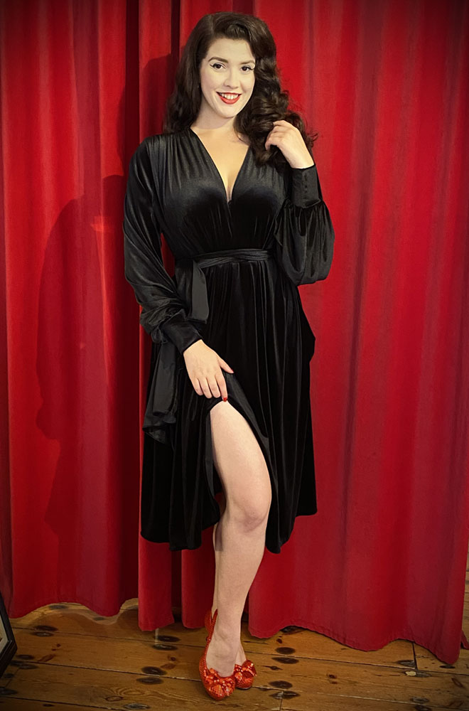 Black Velvet Claudia Dress - a draped jersey evening dress with sash waist & bishop sleeves. A signature piece by Alexandra King for Deadly is the Female.