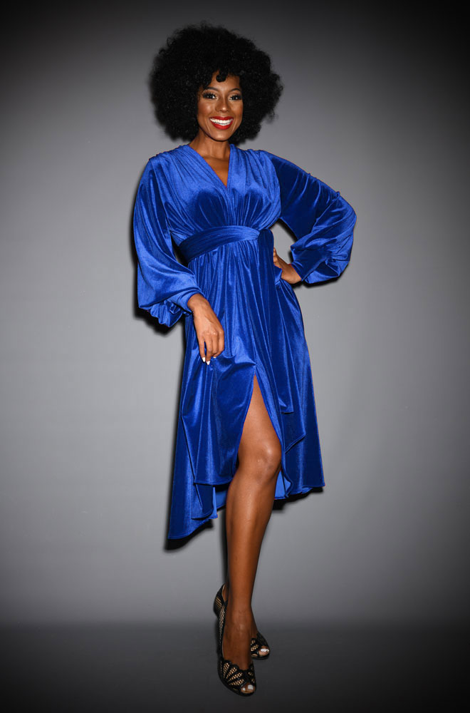 Blue Velvet Claudia Dress - an evening dress with sash waist & bishop sleeves. A signature piece by Alexandra King for Deadly is the Female