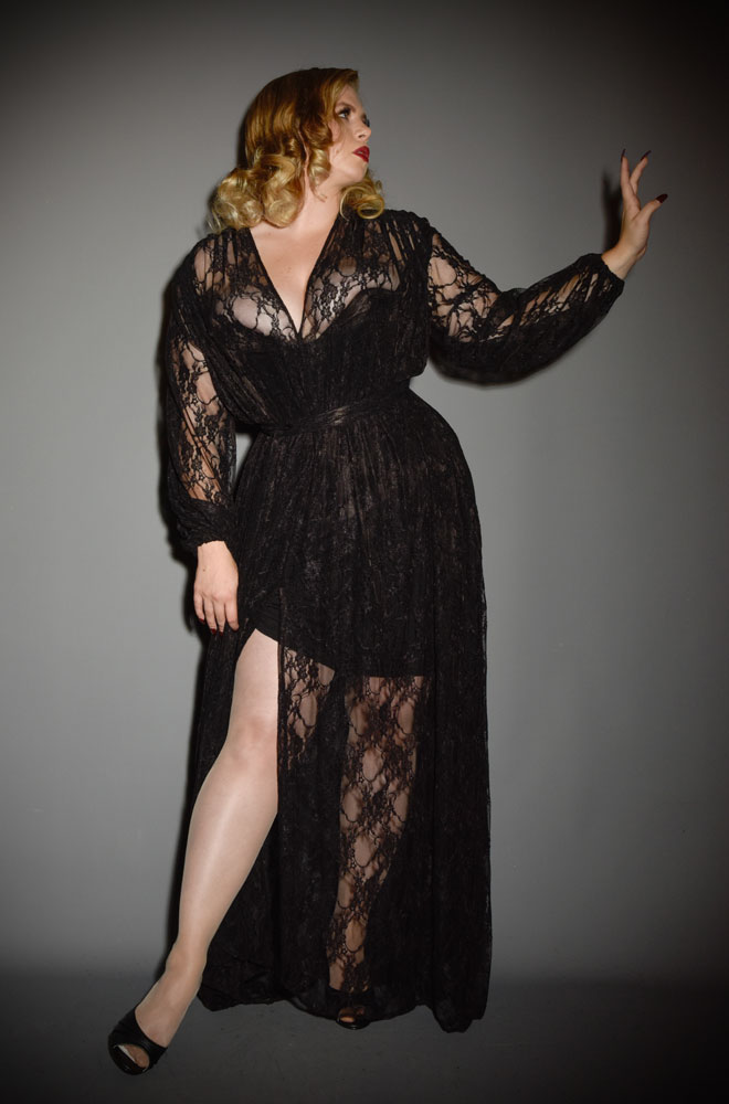 The Lace Claudia Maxi Dress is a vintage inspired gown with bishop sleeves. A signature piece by Alexandra King for Deadly is the Female.