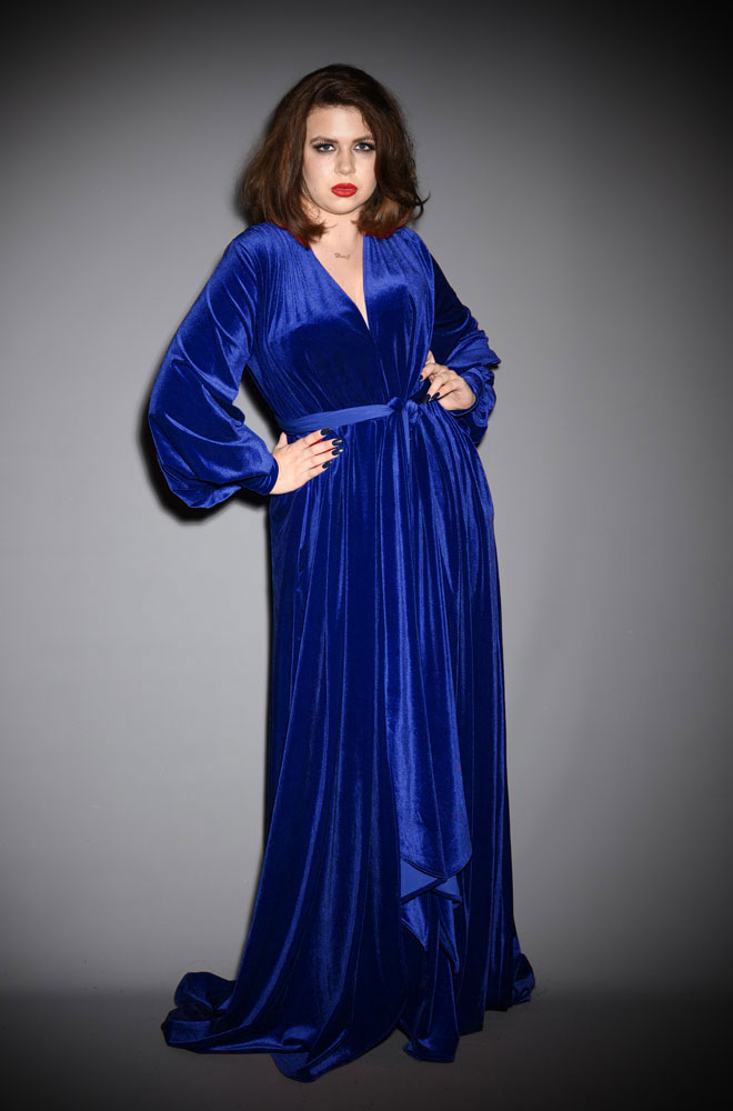 Blue Velvet Claudia Gown - a draped velvet evening dress with sash waist & bishop sleeves. A signature piece by Alexandra King for Deadly is the Female.