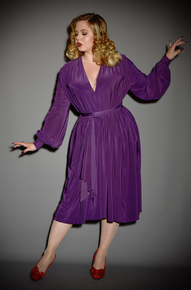Aubergine Claudia Dress - vintage style jersey dress with bishop sleeves. A signature piece by Alexandra King for Deadly is the Female.