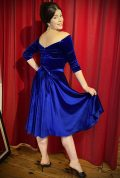 Blue Velvet Luxe Dress - a timeless yet sassy swing dress by Alexandra King for Deadly is the Female Collection.
