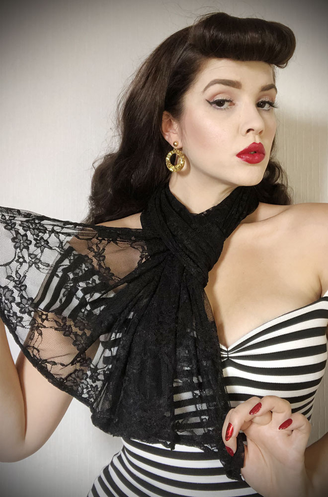 Black Lace Hair Scarf - a large jersey scarf. We LOVE a good hair scarf! They go with just about everything for effortless vintage style.