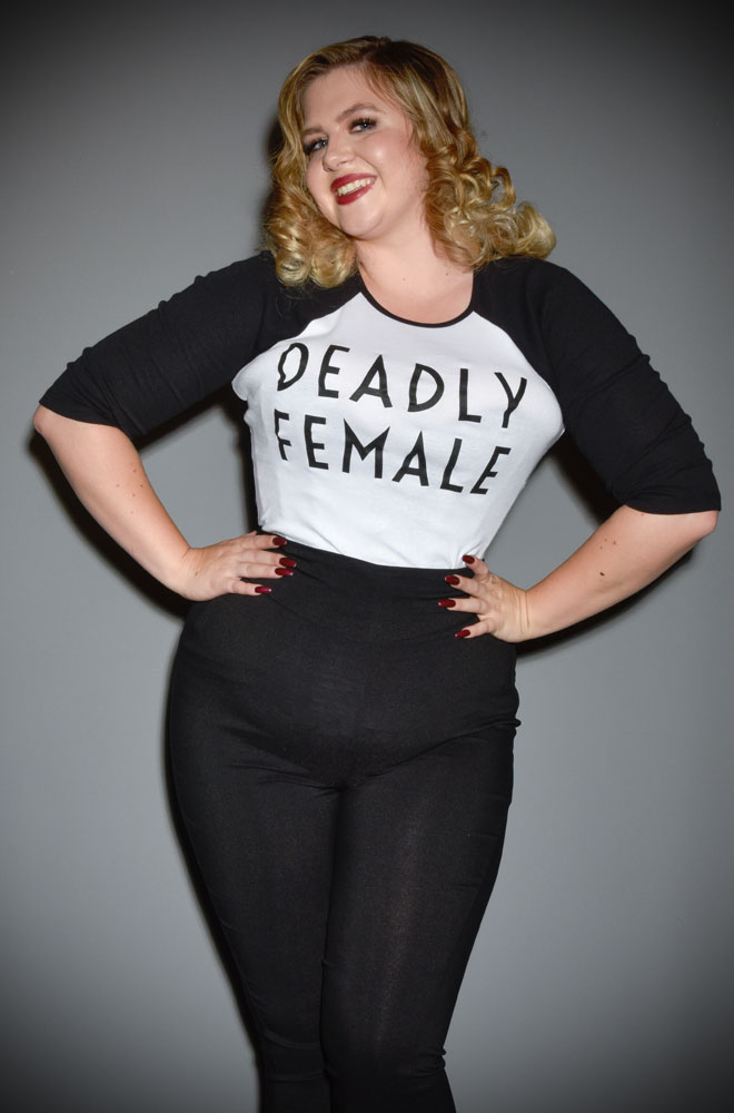 Deadly Female Raglan T-Shirt - a high-quality black & white top. This t-shirt is bold and sassy as well as soft and stylish!