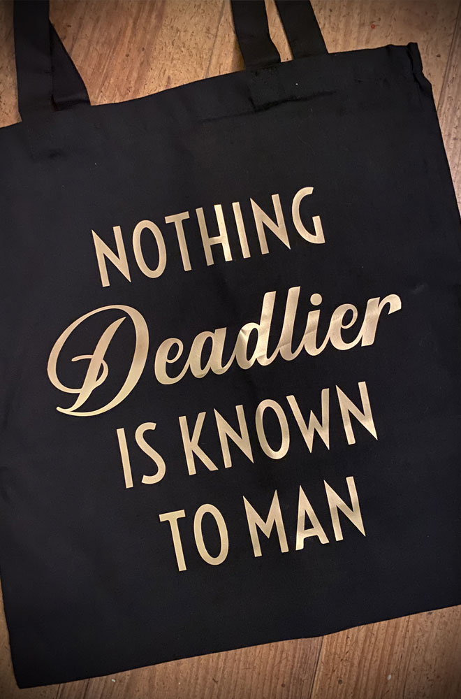 Nothing Deadlier Gold Tote Bag. This classic black tote is chic and sassy all at once. Exclusive and Limited Edition.