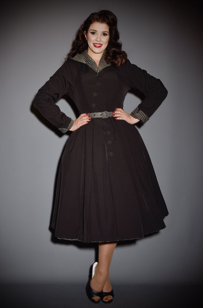 Reversible Lorily Water Resistant Swing Coat - a stunning 1950's coat with a hood. Deadly is the Female are Miss Candyfloss UK stockists.