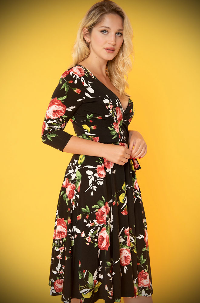 The Kelsie Wrap Dress is a romantic, floral dress, rich in 1950s vintage appeal. Deady are official Unique Vintage UK stockists.