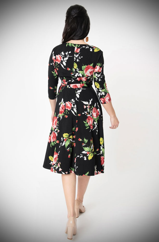 The Kelsie Wrap Dress is a romantic, floral dress, rich in 1950s vintage appeal. Deady are official Unique Vintage UK stockists.