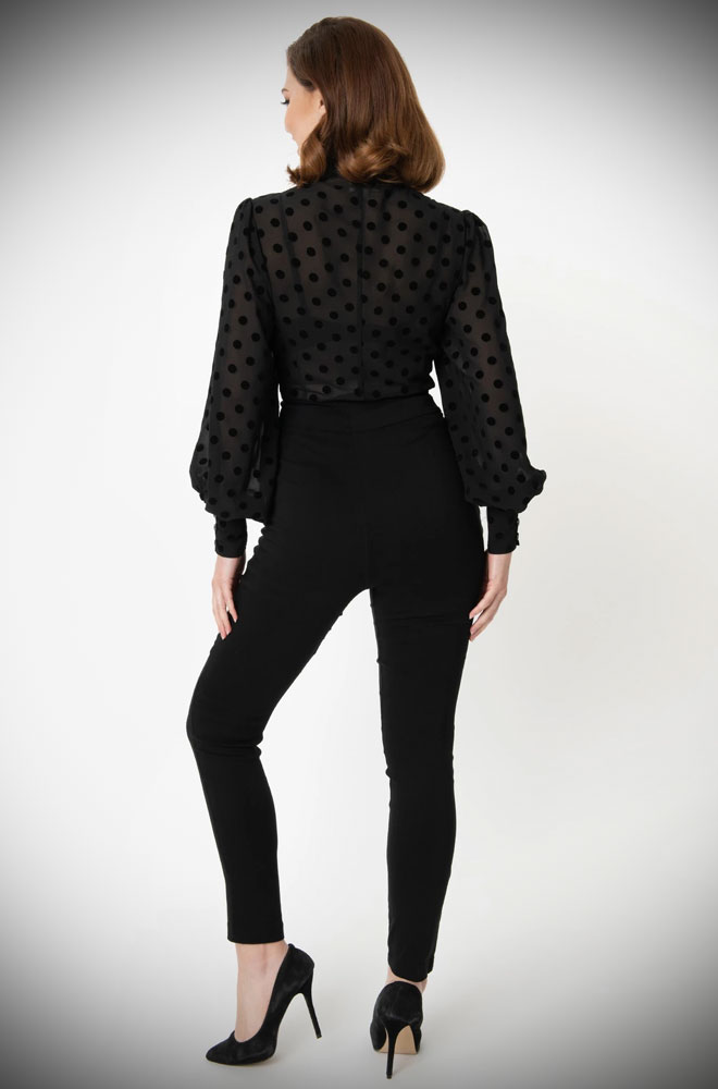 The Rizzo Black Trousers are effortlessly cool! These sassy cigarette pants are ideal to dress up or down! UK stockists of Unique Vintage.