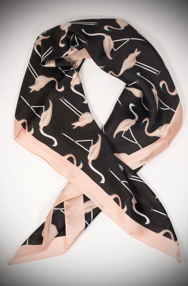 Present your perfect pin-up form with this chic Flamingo hair scarf from Unique Vintage!