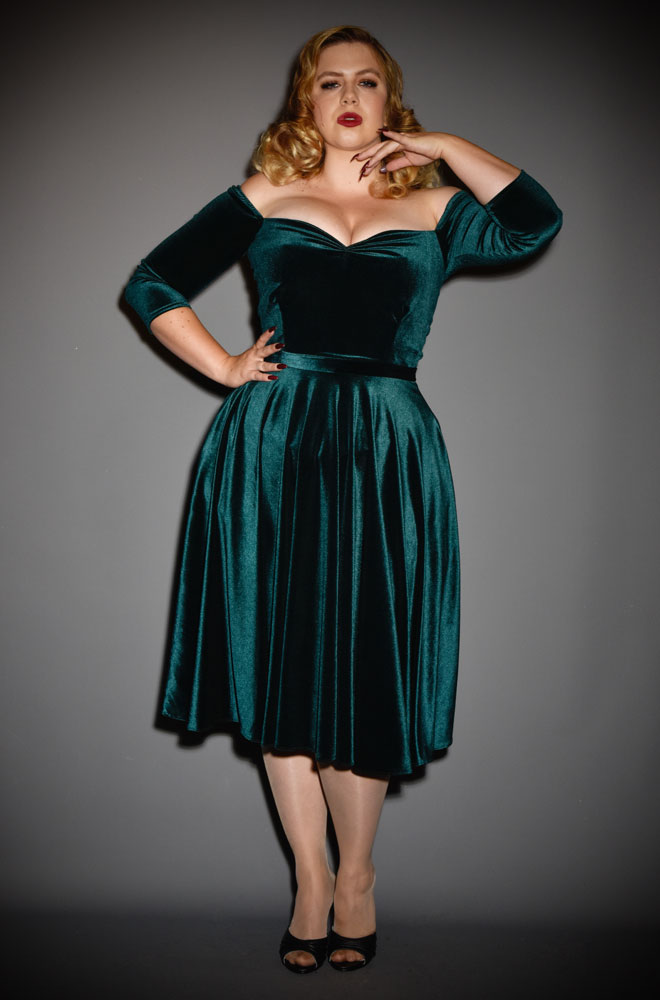 Green Velvet Luxe Dress - a timeless yet sassy swing dress by Alexandra King for Deadly is the Female Collection.