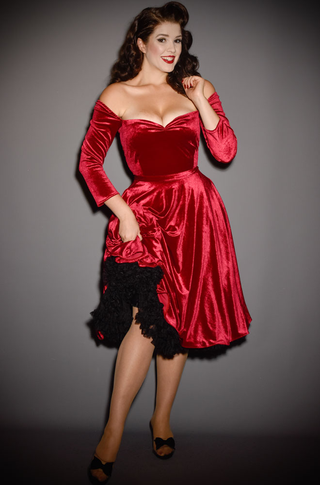 Red Velvet Luxe Dress - a timeless yet sassy swing dress by Alexandra King for Deadly is the Female Collection.
