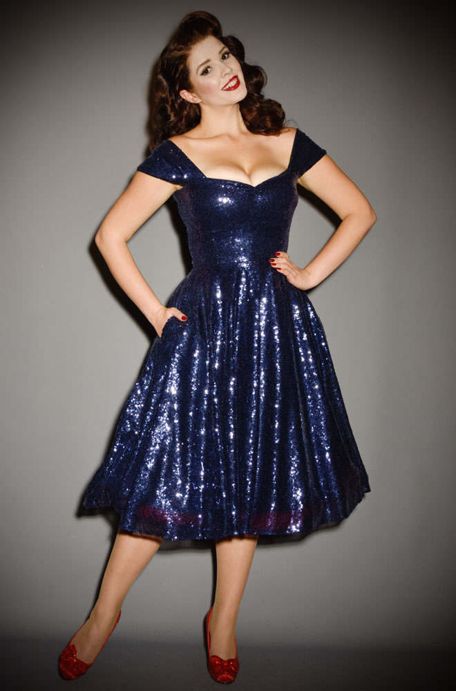 Navy Sequin Scarlett Swing Dress - sparkle in this stunning vintage-inspired swing dress. A signature piece by Alexandra King for Deadly is the Female.