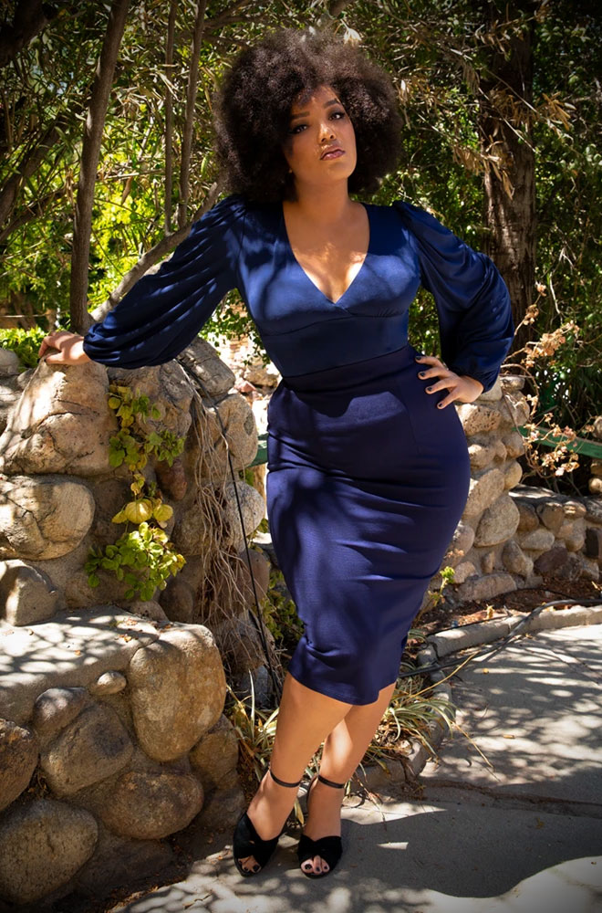 Navy Vamp Pencil Skirt, for femme fatales who can't live without a little drama! Deadly - UK & European La Femme En Noir stockists