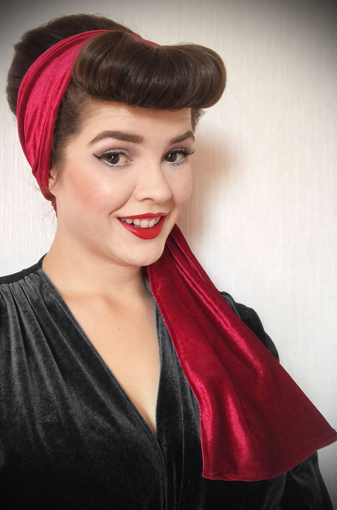 Red Velvet Hair Scarf - a large jersey scarf. We LOVE a good hair scarf! They go with just about everything for effortless vintage style.