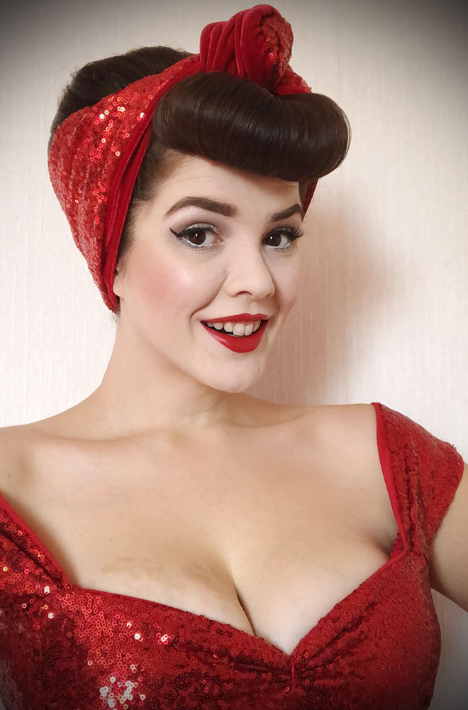 Red Sequin Turban Headband. A gorgeous accessory to give any outfit a classic vintage edge, by Alexandra King for Deadly is the Female.