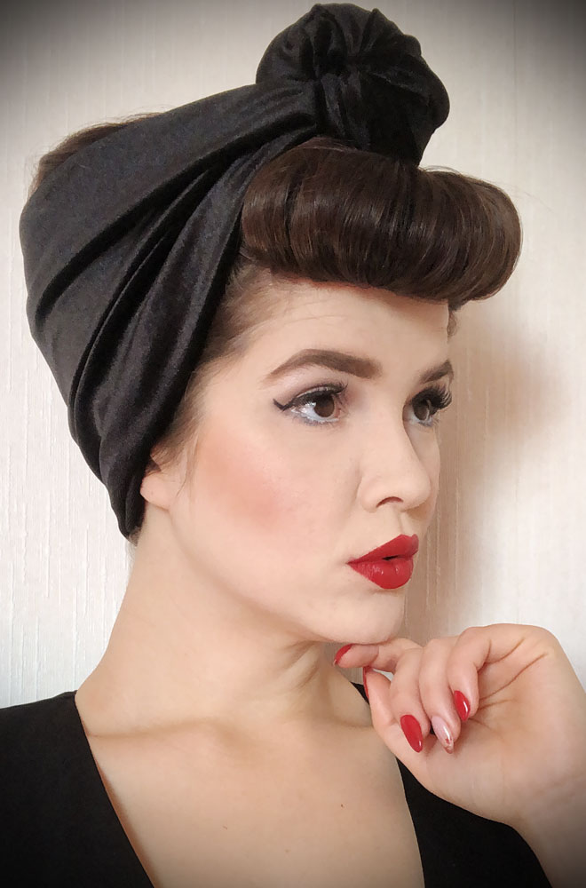 Black Velvet Turban Headband. A gorgeous accessory to give any outfit a classic vintage edge, by Alexandra King for Deadly is the Female.