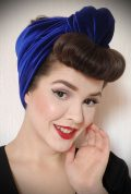 Blue Velvet Turban Headband. A gorgeous accessory to give any outfit a classic vintage edge, by Alexandra King for Deadly is the Female.
