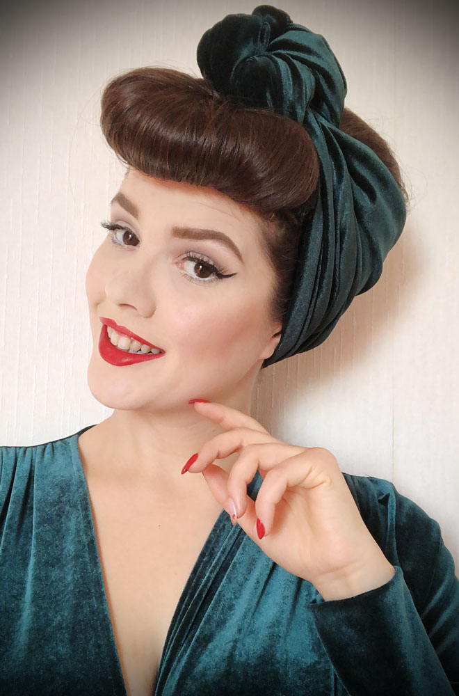 Green Velvet Turban Headband. A gorgeous accessory to give any outfit a classic vintage edge, by Alexandra King for Deadly is the Female.