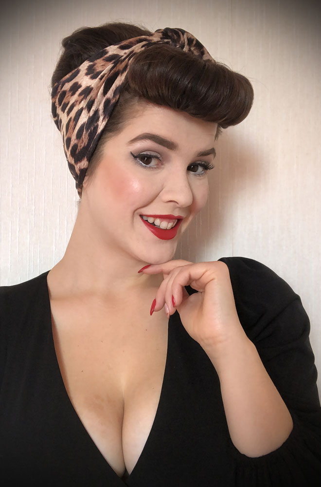 Leopard Turban Headband. A gorgeous accessory to give any outfit a classic vintage edge, by Alexandra King for Deadly is the Female.