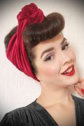 Red Velvet Turban Headband. A gorgeous accessory to give any outfit a classic vintage edge, by Alexandra King for Deadly is the Female.