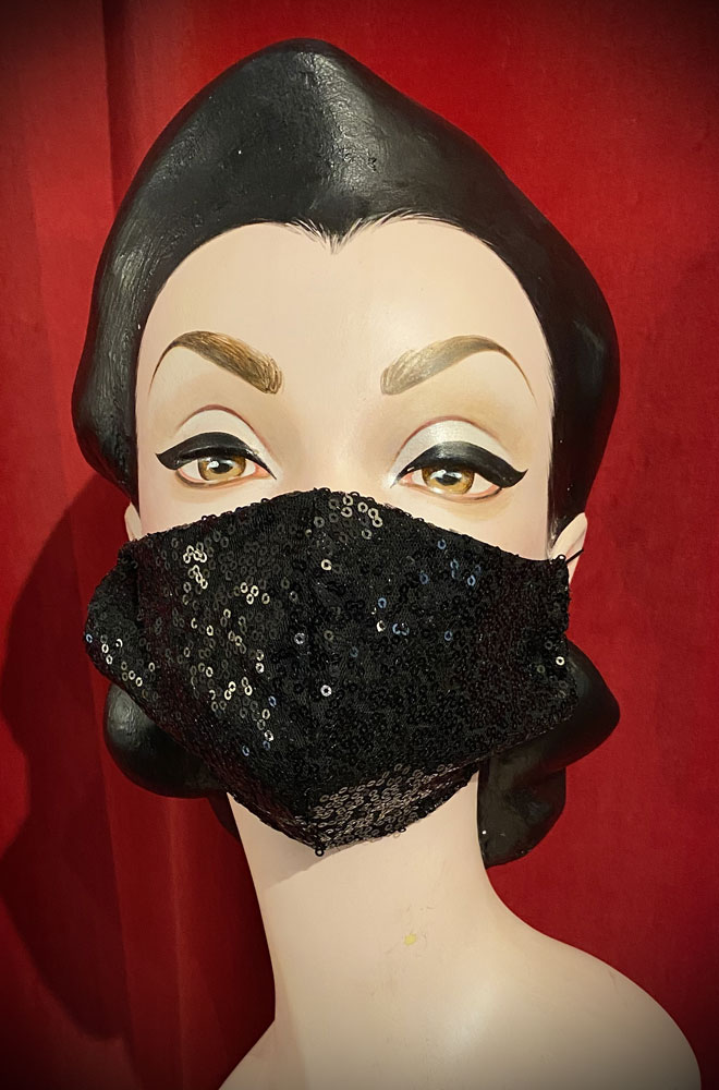 Black Sequin Mask - stylish but also a reminder to keep your hands away from your face. Handmade in Somerset. Not suitable for medical use.