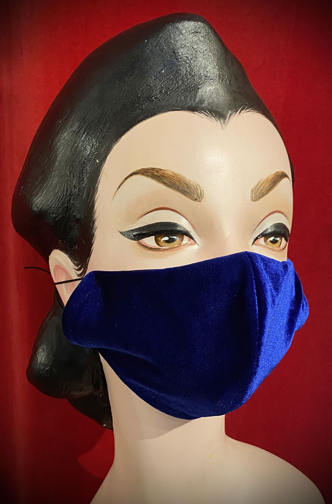 Blue Velvet Mask - stylish but also a reminder to keep your hands away from your face. Handmade in Somerset. Not suitable for medical use.