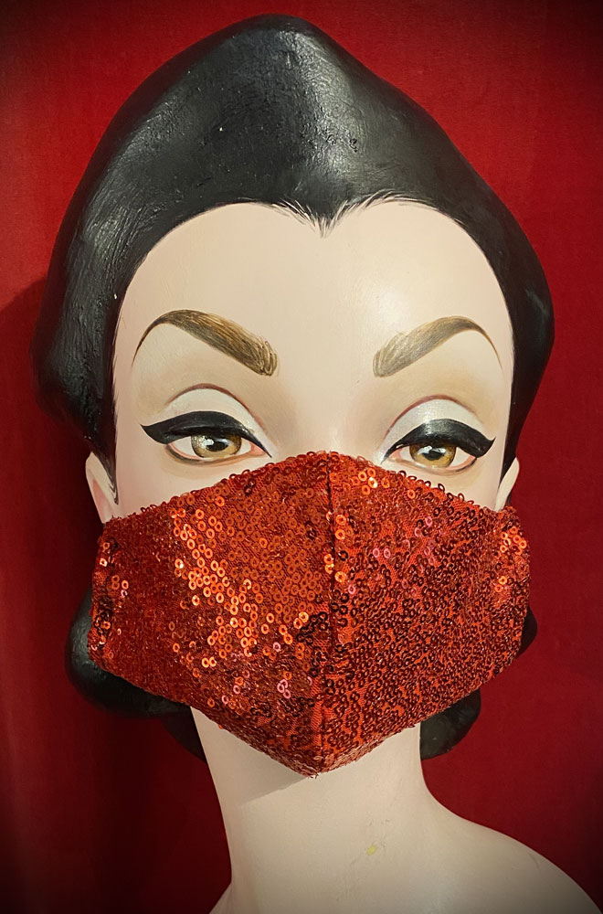 Red Sequin Mask - stylish but also a reminder to keep your hands away from your face. Handmade in Somerset. Not suitable for medical use.